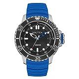 Nautica Herren Analog Quarz Uhr mit Silikon Armband NAD18517G