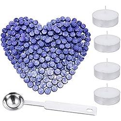 200 unidades de barras de cera octogonales con caja de almacenamiento + 4 velas de té + 1 cuchara de cera de sellado, kit de cera de sellado para sello de cera letra, 5 colores morado