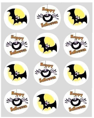 12 Fledermaus & SPINNEN Halloween Reispapier Märchen/Törtchen 40mm Toppers vorgestanzt Kuchen Dekoration (Halloween Spinne Dekorationen)