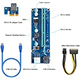 PCI-E Express 1x To 16x Powered Riser Adapter Card,60cm USB 3.0 Male To Male Cable & MOLEX To SATA Power Cable GPU Riser Adapter