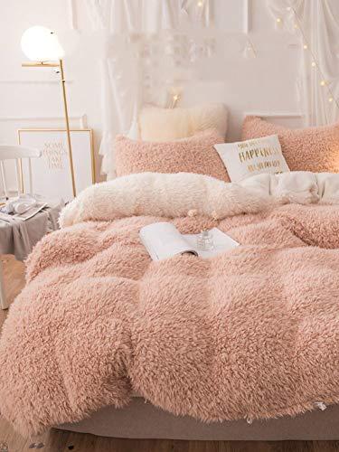 WWBT Coral Fleece Bettbezug,Einzelstück Flanell Tröster Abdeckung,Winter Plus samt Dick Rosa Bettbezug-B 1.2m(4feet) Bett -