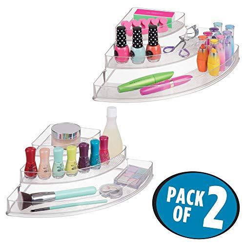 mDesign Make-up-Organizer für Badezimmer-Arbeitsflächen, Schränke: 3 Ebenen, Eckaufbewahrung für Make-up-Pinsel, Lidschatten, Lippenstift, Lipgloss, Rouge, Concealer, Nagellack, 2 Stück, transparent