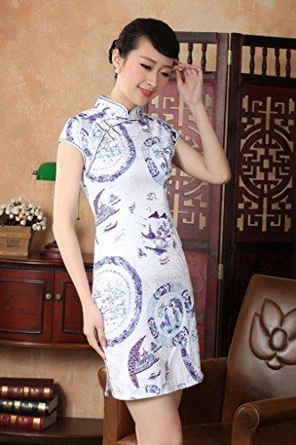 Smile YKK Femme Robe Qipao Cheongsam Coton Rétro Multicolore