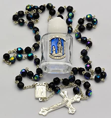 Blessed Bottle of Lourdes Water Prayer Card & Black Rosary Beads FROM LOURDES