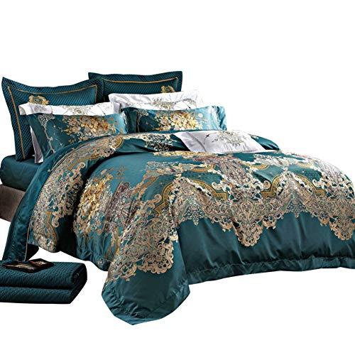 Zuhause Mode Queen Size Bett tröster, 10 stück Bett in Einem Beutel Jacquard Ultra Soft Mikrofaser Schlafzimmer Bettdecken Bettwäsche Kissenbezüge-A King - Beutel Aus Mikrofaser In King-size-bett Einem