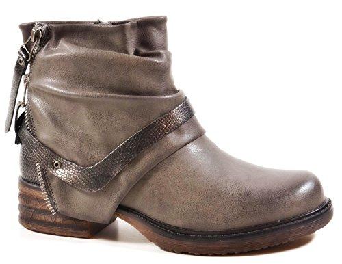 King Of Shoes - Stivali da Motociclista Donna, Grigio (Grau), 37