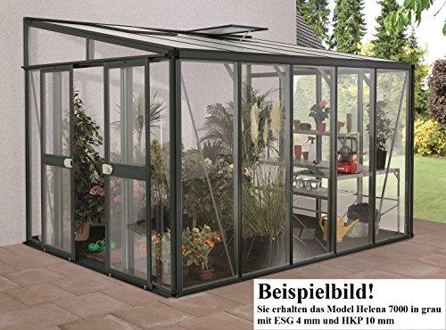 Gartenwelt Riegelsberger Anlehngewächshaus Helena – Ausführung: 7000 Kombi ESG 4 mm und HKP 10 mm grau, Fläche: ca. 7 m², mit 1 Dachfenster, Sockelmaß: 2,68 x 2,81 m