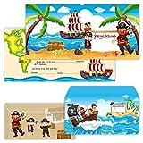 PAPERHELDEN 12 Piraten Einladungskarten mit 12 Umschlägen zum Kindergeburtstag | Geburtstags-Einladungen zur Piratenparty für Kinder