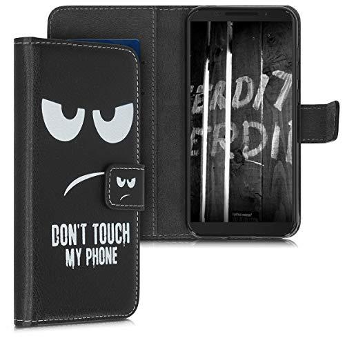 kwmobile Alcatel 1S Hülle - Kunstleder Wallet Case für Alcatel 1S mit Kartenfächern & Stand - Don't Touch My Phone Design Weiß Schwarz