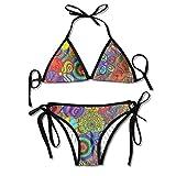 Rghkjlp Trippy Drawings Cap Shaped Bell Women's Sexy Bikini Set Bathing Swimsuit Halterneck Swimwear