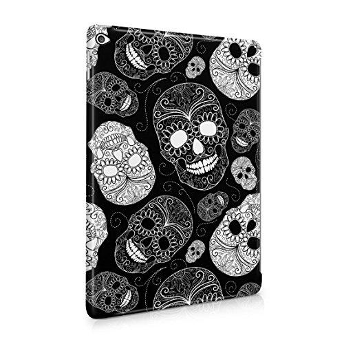 Schwarz Sugar Candy Mexican Skulls Pattern Decor Dünne Rückschale aus Hartplastik für iPad Air 2 Tablet Hülle Schutzhülle Slim Fit Case Cover