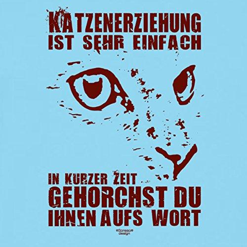 Geschenk-Idee für Katzenfreunde :-: Motiv T-Shirt Katzen :-: Katzenerziehung als Geschenk zum Geburtstag Weihnachten Vatertag :-: auch in Übergrößen 3XL 4XL 5XL :-: Farbe: hellblau Hellblau