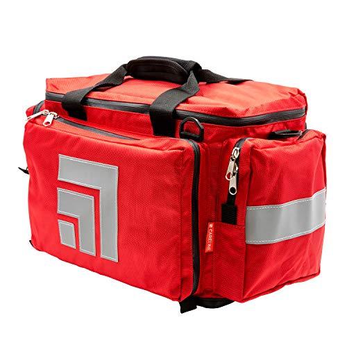 CARELINE Pflegetasche FLEX, aus strapazierfähigem wasserdichtem Polyester, inkl. Tragegriff, Schultergurt und Rucksackgurte, Farbe Rot -