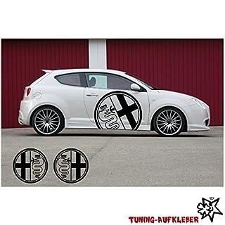 2x Alfa Romeo Logo 60cm Aufkleber Tuning Scheibe Lack TYP-MRS50 `+ Bonus Testaufkleber