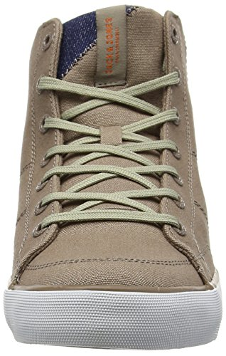 Jack & Jones Jjdeeside Canvas High Sneaker Taupe Grey, Chaussons montants homme Gris - Grey (Taupe Gray)