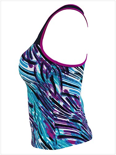 meinice Zigzag Bianco e nero stampa Mesh Splice Tankini Top Purple Large