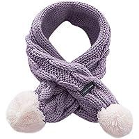 Malloom Niños de invierno de lana de punto babero bufanda Niños niños Niños y niñas de terciopelo de punto Mantener abrigos calientes Bufanda Bufandas