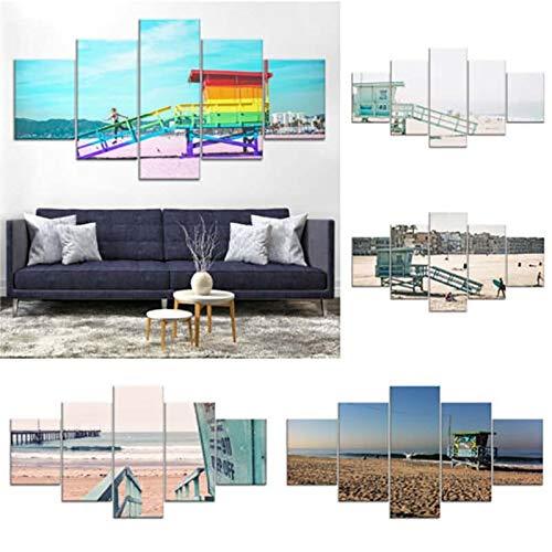 myvovo Home DecorationModular Bild Leinwand 5 Stücke Venice Beach Malerei Moderne Gedruckt Landschaft Poster Wandkunst Wohnzimmer Rahmen wandbild poster-30x40cmx2 30x60cmx2 30x80cmx1