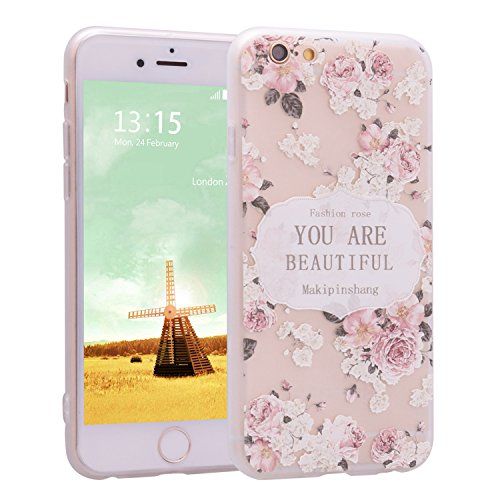 iPhone 6 Case, Per Apple iPhone 6s Cover Silicone, Asnlove Custodia Crystal Case 3D Flessible TPU Silicone Lucida Trasparente Bumper Gomma Caso Stilosa Custodia di Design in Morbido TPU Clear Back She Color4