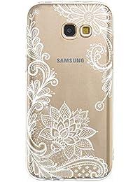Miagon Galaxy J4 Plus 2018 Transparent Handyhülle,Silikon Hülle für Samsung J4 Plus 2018, Schön Kreativ Weiß Blume Muster Weiche Silikon Schutzhülle für Samsung Galaxy J4 Plus 2018