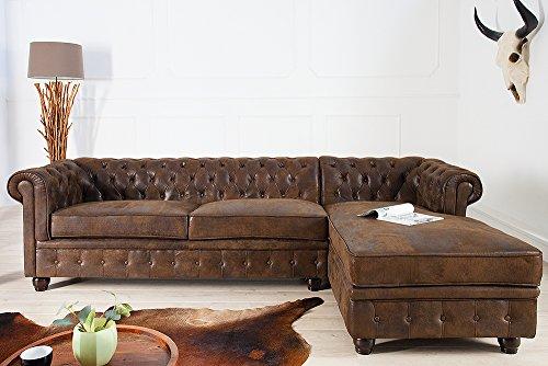 Invicta Interior Edles Chesterfield Ecksofa im Antik Look Ottomane Rechts Eckcouch Sofa braun Wohnzimmer Couch