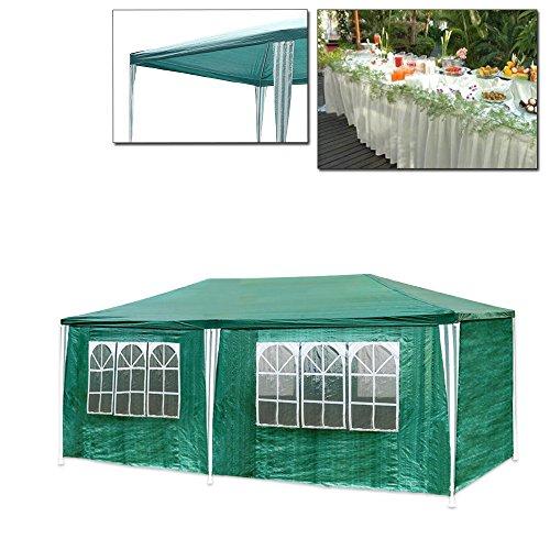 VINGO® Festzelt 3x6m Partyzelt Grün Gartenzelt mit 6 Seitenteilen und 2 Eingängen PE Stahlkonstruktion Camping Festival als Unterstand und Plane