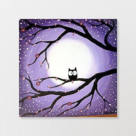 Cute Hiboux dans l'arbre Cadre en bois sur toile Décoration murale 45,7x 45,7cm