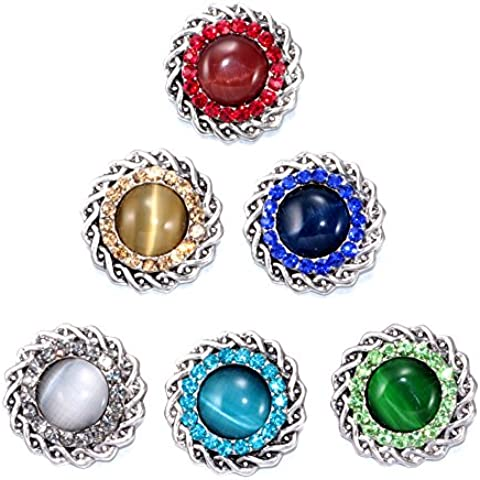 Soleebee 6pcs 18mm Alloy Rhinestone Snap Buttons Jewelry Charms - Weave Opal by Soleebee
