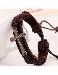 A Bracelet En Cuir Tricot En Cuir De Vache RéTro Croisé