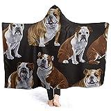 Millancty Englisch Bull Dogs Männer mit Kapuze Decke Super Soft Flanell Decke mit Kapuze Throw Wrap Blanket50 'x40'