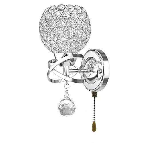 Wefond Modern Crystal Wandleuchte Pendent Lampe Chrom Finish Schlafzimmer Sconce Beleuchtung Befestigung mit Pull Cord Switch, E14 Sockel (Kugelförmig) (Crystal Flush Mount Beleuchtung)