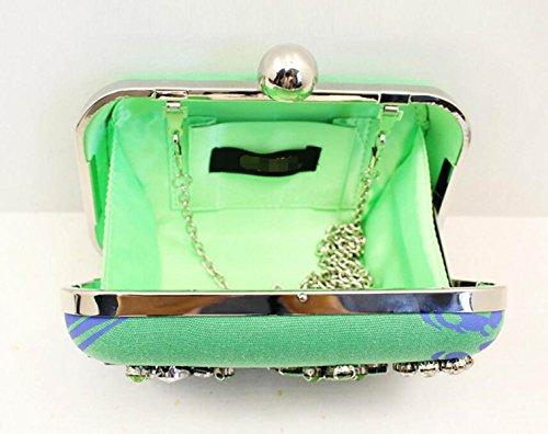 Strawberryer Sacs à Main En Style Européen Sacs à Main Pierres Précieuses Sacs à Perles Faits à La Main Robe Décoration Paquet De Dîner Embrayage green