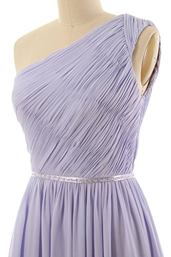 MACloth Women One Shoulder Chiffon Short Bridesmaid Dress Wedding Party Gown Grau