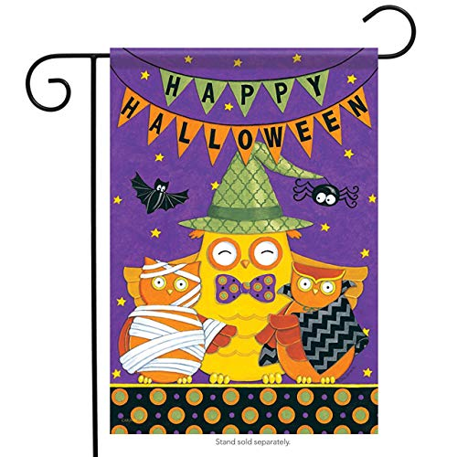 ASKYE Happy Halloween Owl Garden Flag Bats Stars Broom Double Sided Banner for Party Outdoor Home Decor(Size: 28inch W X 40inch H) (House Kit Bat)
