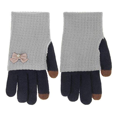 Winter Handschuhe Damen Gestrick Fingerhandschuhe mit Touchscreen Funktion Handgelenk Handwärmer für Outdoor