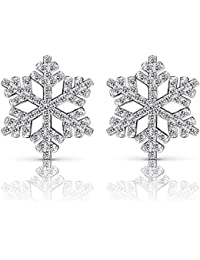B.Catcher orecchini in argento 925 sterlina a forma di fiocco di neve con zirconi cubici elenco puntato
