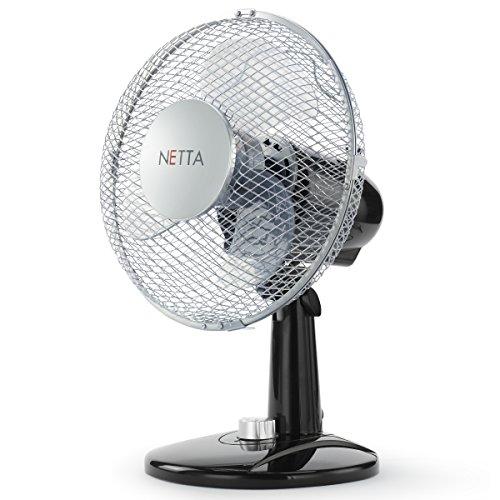 Netta - Ventilator 23cm 30 Watt- Tischventilator | Rotation zuschaltbar | oszillierend | leiser Betrieb | Windmaschine | Luftkühler | Lüfter | 2 Stufen | Neigungswinkel verstellbar - schwarz/Silber