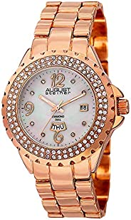 August Steiner Women's Crystal Bezel Fashion Watch - White Mother of Pearl Diamond Dial with Big Number Ho