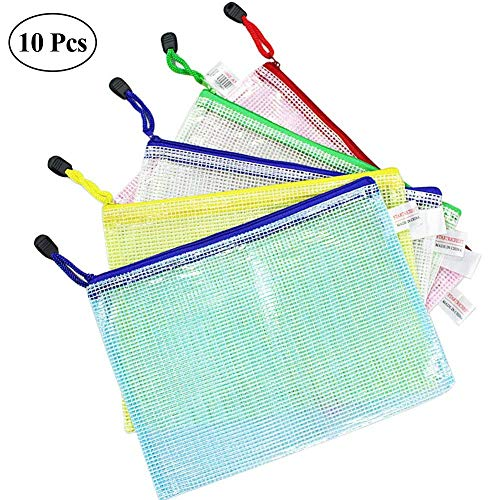 entasche A5 Klett Zip Beutel Reissverschluss Mesh Bag Farbig Plastic Zipper Tasche Packung von 10 ()