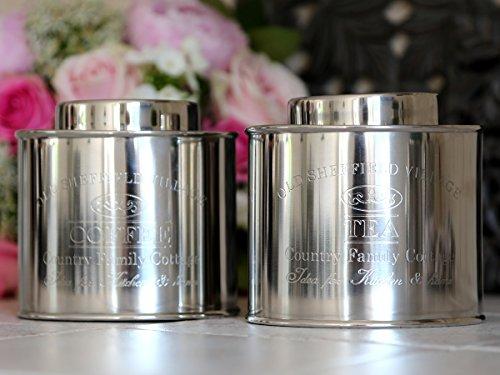 Kaffeedose Vorratsdose Chic Antique Metall m. Gravur ' Coffee ' Antique Silber
