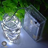 LTETTES 3M 30LED Cold White Battery Powered Portable Copper LED String Lights Decorative Fairy String Lights