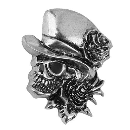 Rosen Schädel Brosche Dekor Für Halloween Partybevorzugung Geschenk Antikes Silber (Halloween-dekor)