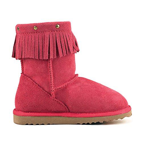 Shenduo - Bottes fille & garçon cuir de mouton, Boots fourrées colorées doublure chaude en laine Mixte enfant D8752 Rouge