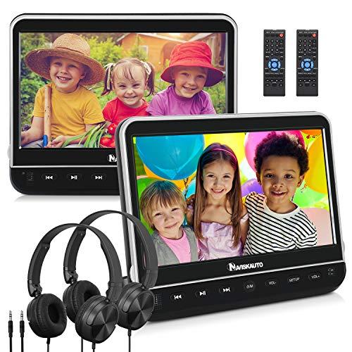 "NAVISKAUTO 2 10,1\"" DVD Player für Auto Tragbarer DVD Player Dual 1080P HD Bildschirm Kopfstütze Monitor Memory HDMI SD USB mit Kopfhörer 12V"