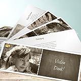 Kommunion Danksagung, Getäfelt jung 200 Karten, Kartenfächer 210x80 inkl. weiße Umschläge, Braun