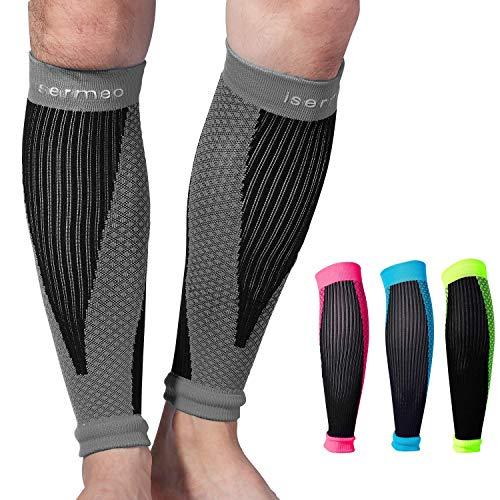 Isermeo fascia a compressione polpaccio graduata, fasce a compressione polpacci per recupero e allenamento, gambaletti gamba elastico gambali sport per uomo e donna per running, crossfit (1 paio)