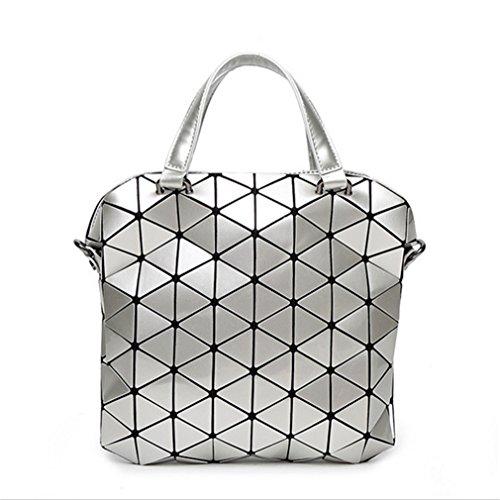Yueling Frauen Perle Tasche Laser Taschen Diamantgitter Tote Geometrie Gesteppte Schultertasche Faltbare Handtaschen & Umhängetasche Silvers - Patent-make-up-tasche
