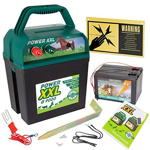 Power XXL B 9.000 Effektives Weidezaungerät 9V/12V Set inklusive Batterie und internationalem Warnschild, Elektrozaungerät für einen sicheren Weidezaun, Pferd, Pony, Rind