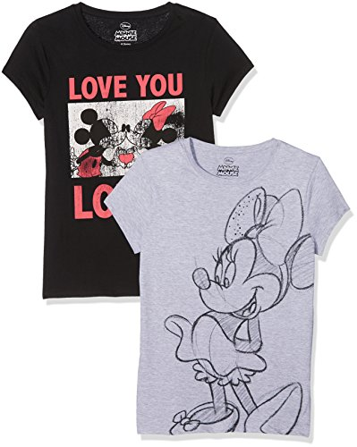 FABTASTICS Disney Minnie Mouse Damen T-Shirts 2er-Pack Grau / Schwarz