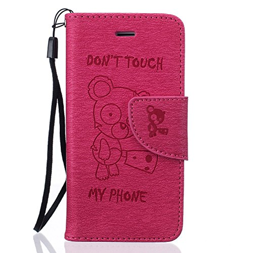 Coque iPhone 5S, Coque iPhone 5,Coque iPhone SE, LuckyW PU Housse en Cuir pour Apple iPhone 5 5S SE Don't Touch My Phone Ours Motif Clapet Flip Folio Wallet Portefeuille Case Elegant Durable Protecteu Rouge